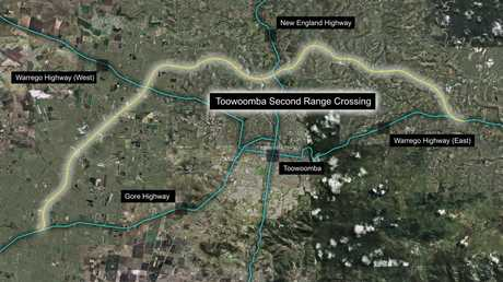 Map of Toowoomba bypass planned route. Photo Contributed