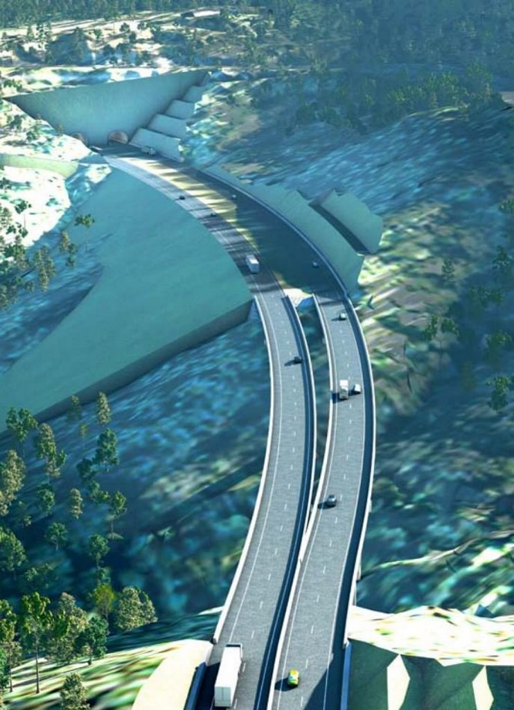 An artist's impression of the completed Toowoomba Bypass.