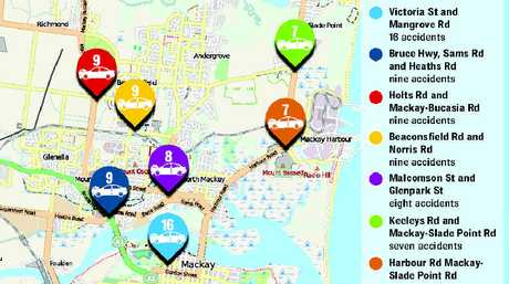 This map shows some of the most crash-prone intersections in the Mackay region and lists the number of accidents at each one.