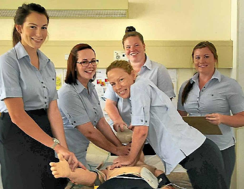 Imogene Carlson, Julia Imarisio, Chantelle Jurd, Stacey Dattinger and Tara Scott started their graduate nursing program at the Gladstone Hospital this week.