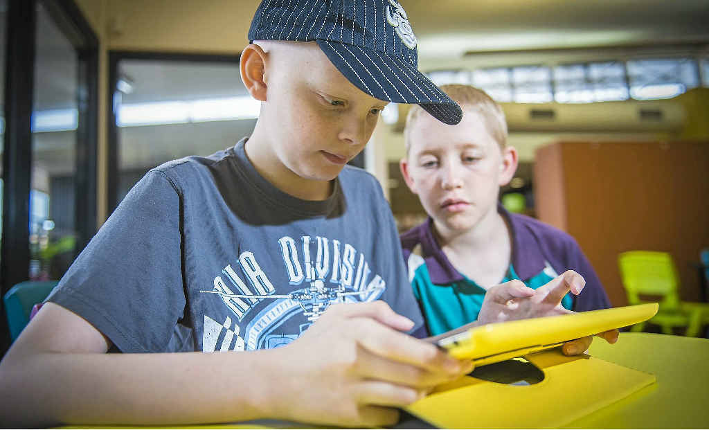 MATES: Mitchell Luders, 11, and his friend Steven Vesel, 10, formed a bond while being treated for neuroblastoma.