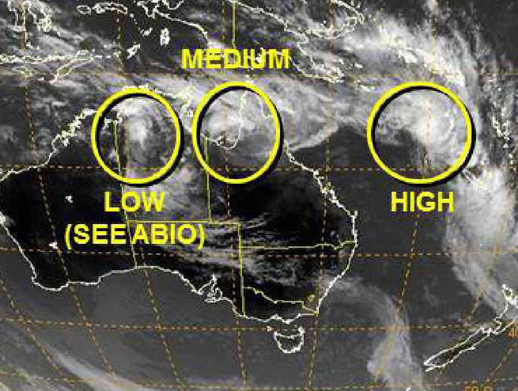 CLOSELY MONITORED: Three tropical lows are lining up.