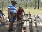 Baden-Powell Masonic Lodge members travelled from Brisbane to construct a sign for the Aldershot Fraser Coast Scout Camp Grounds using locally-sourced materials.