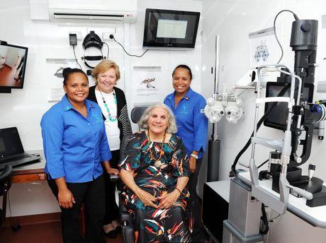 Melanie Green, Diamond Jubilee Partnerships executive director Lyndall De Marco, Butchulla elder Aunty Joyce and community liason officer Cassandra Douglas in the IDEAS van.