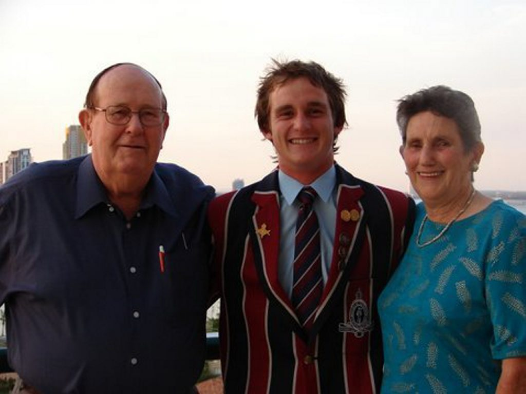 Adrian Holmes (left) and wife Dawn at their grandson Damon Holmes' graduation at The Southport School at the Gold Coast.