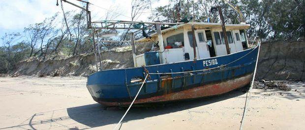 MYSTERY SOLVED: Hervey Bay trawler Rosella was found stranded on Farnborough Beach.
