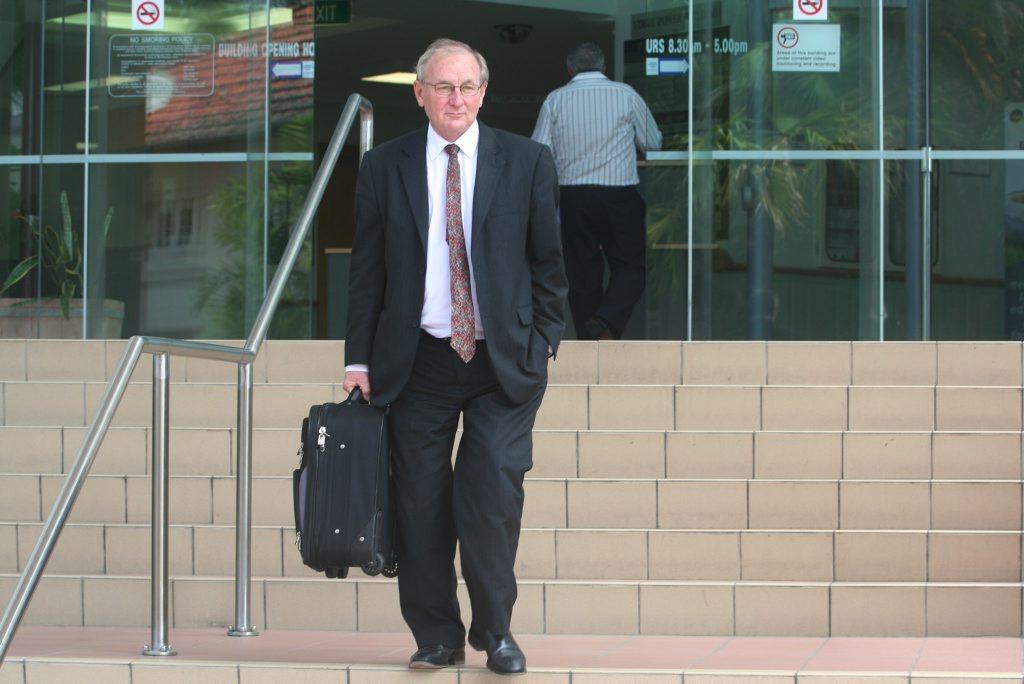 Criminal lawyer Doug Winning leaving the Rockhampton Court House.