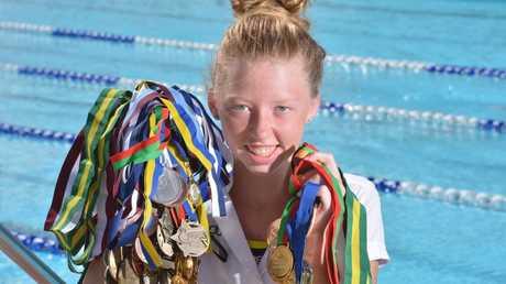 Lakeisha Lucky Patterson is a talented Australian title swimmer. Photo : John McCutcheon / Sunshine Coast Daily.