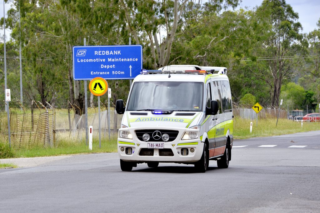 Two staff suffered burns in an industrial accident at Aurizon railway workshops at Redbank. A woman is in a critical condition and a man has minor burns, both were taken to hospital. Photo: Claudia Baxter / The Queensland Times