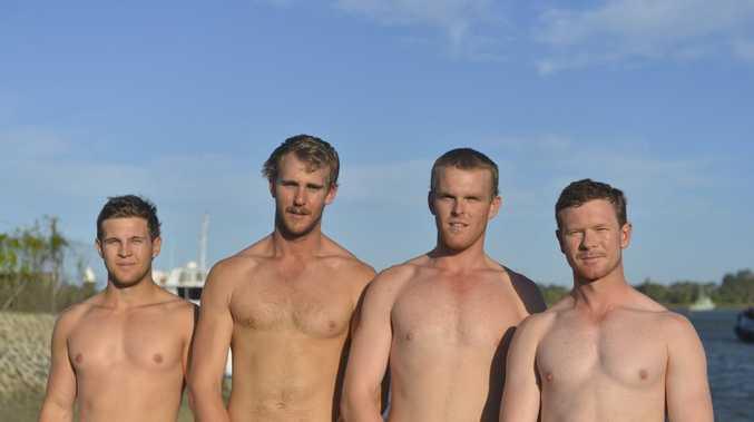 FIT CREW: The Tannum Sands under-23 men's surf boat team, the Luggers - Nelson Corones, Blake Neat, Matt Rowe and Matthew Strike.