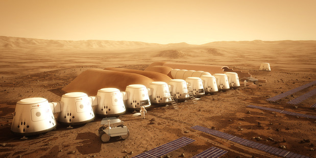 The proposed Mars One settlement, looking like a row of beach buckets, will have home comforts and interior food-growing areas.