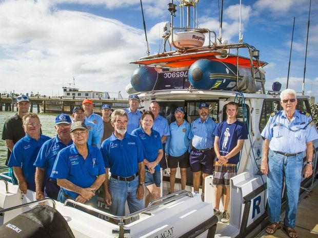 READY TO HELP: Members of Volunteer Marine Rescue Gladstone before their training drill.