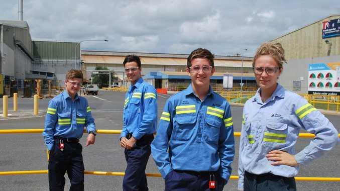 ON SITE: Jacob Jones, Josh Stevens, Mitch Vickers and Jess Grey are part of Boyne Smelters Ltd's 2014 apprentice intake.