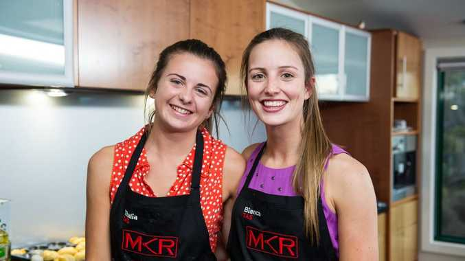 Thalia and Bianca were all smiles after serving up their entree during their instant restaurant in Hobart.