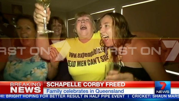 Schapelle Corby's mum Rosleigh Rose celebrates her daughter's release from a Bali prison. Photo: Seven News