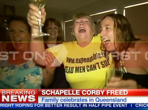 Schapelle Corby's mum pops champagne as daughter freed