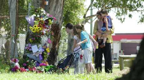 Historical Memorial for Simone Strobel near the spot where her body was found in 2005.
