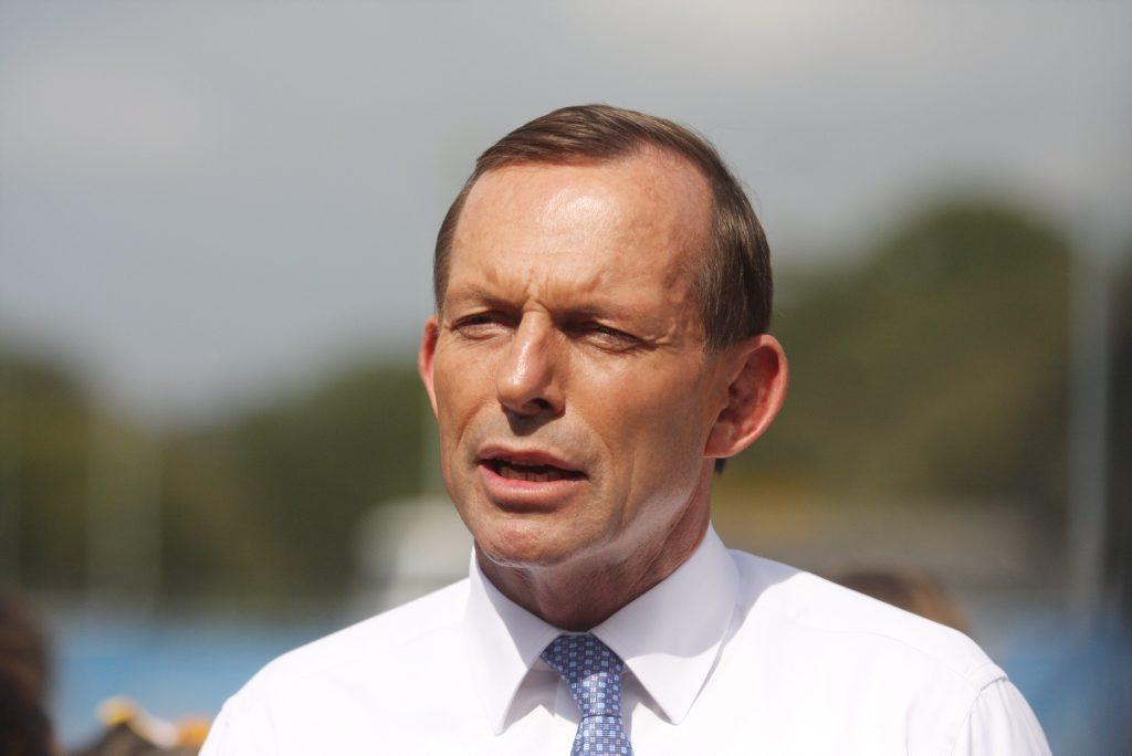 Opposition Leader Tony Abbott speaks to media at the CAboolture Netball Association.