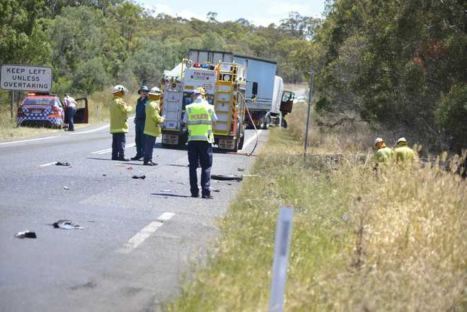 Emergency services at the scene of a fatal motorbike crash on the New England Hwy.
