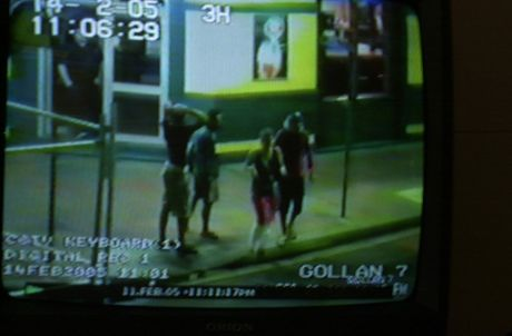 GOLLAN DEPARTURE: Missing German tourist Simone Strobel (second from right) pictured leaving the Gollan Hotel in Lismore on the Friday night that she disappeared with her boyfriend Tobias Suckfuell and their two fellow travellers, Jens Martin and Tobias' sister Katrin Suckfuell.