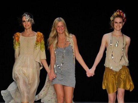 Caroline Fuss with models wearing her designs in Sydney.