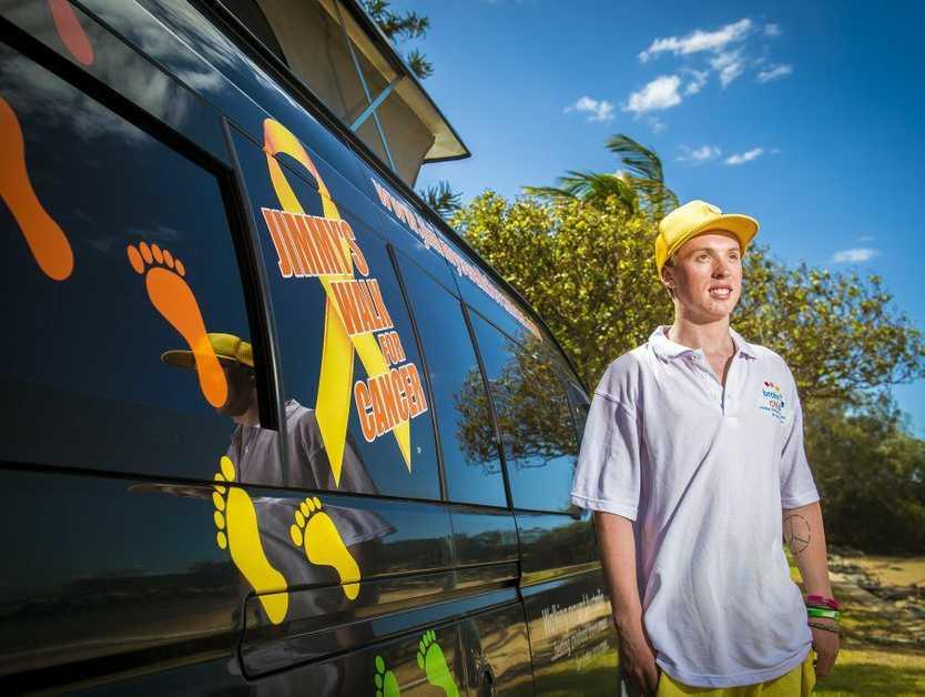 Jimmy Harrington is walking around Australia to raise money and awareness for children suffering from brain cancer.
