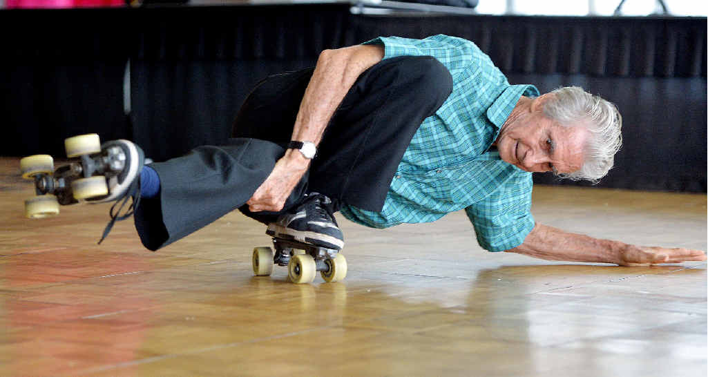 Maurie Bartlem, who turned 75 on Sunday, demonstrates his skill at roller skating.