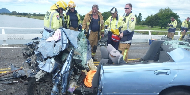 A baby died and three people were injured when this car crashed into a truck.