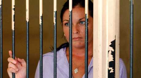 Schapelle Corby at the holding cells at the Denpasar District Court.