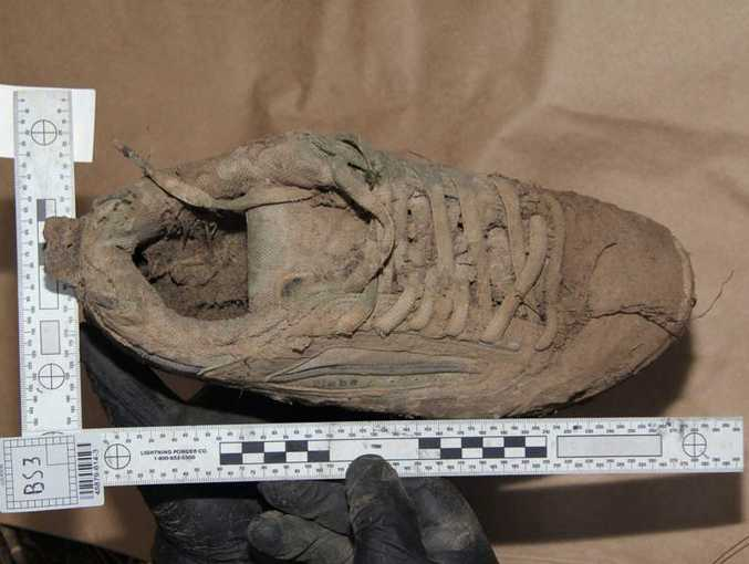 A muddy shoe, believed to be that of Daniel Morcombe, found at Glasshouse Mountains. Source: Police