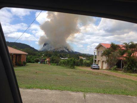 Photo showing the controlled burn on Mt Tibrogargan.