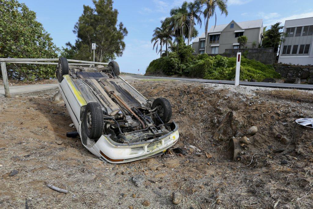 Car flipped over on Fingal rd last night. Photo: Nolan Verheij-Full / Daily News