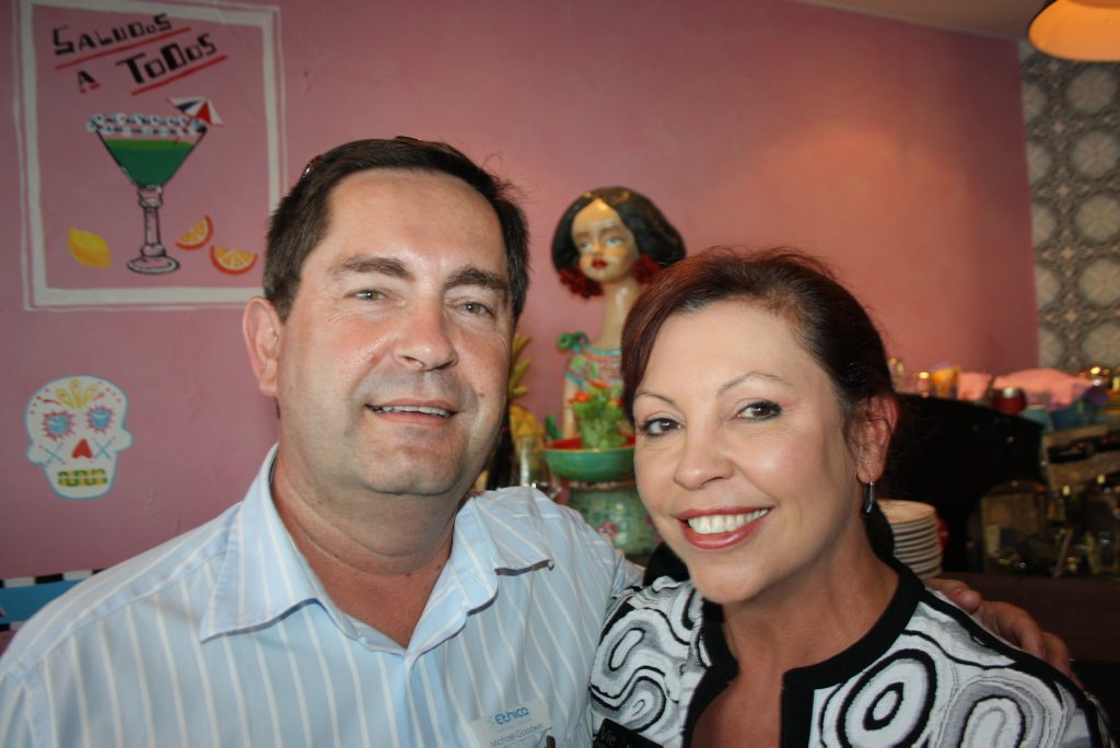Image for sale: Michael Goodwin of Ethica Private Wealth and Kathy Gambini of Vie Institute at Maroochydore Chamber of Commerce's networking night at The Prickly Pignata at Cotton Tree Photo: Erle Levey / Sunshine Coast Daily