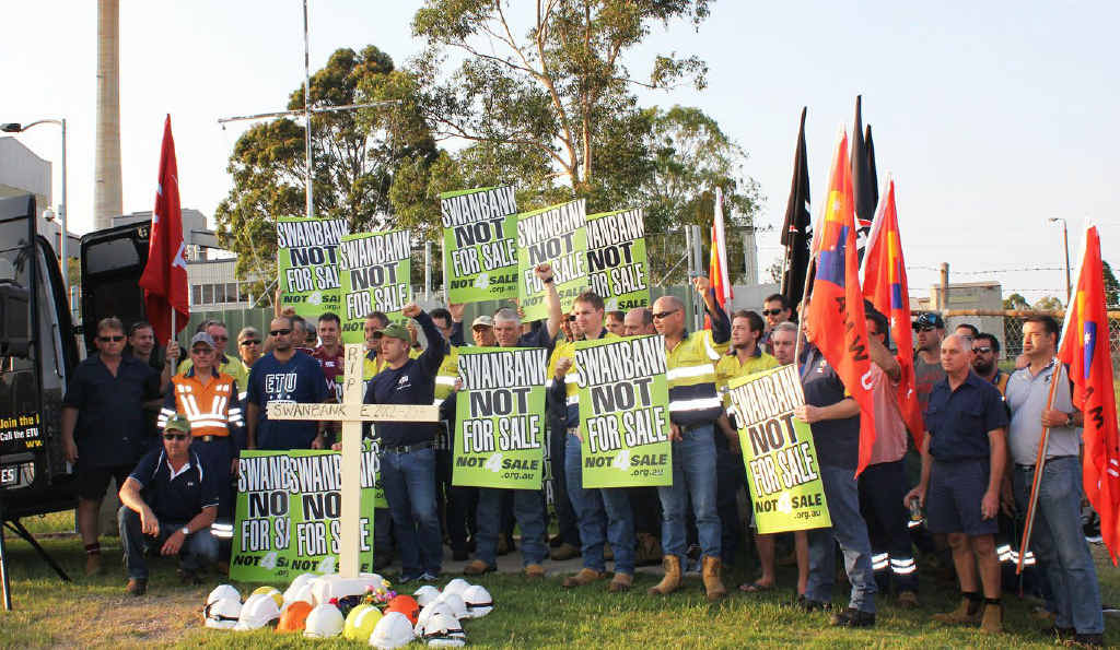 PROTEST: ETU members protest the planned mothballing of the Swanbank E gas power station owned by Stanwell Corporation.