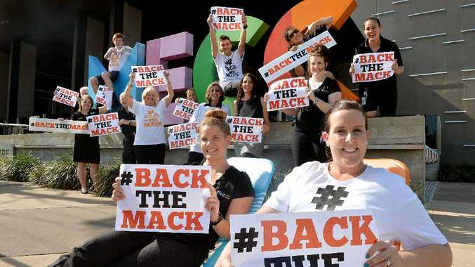 Leah Edwards and Catherine Batterson, with other MECC staff, are ready to Back the Mack.