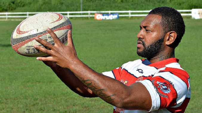 HOMECOMING: Returning flanker Paul Raikaki gets the feel of rugby in a Redmen's jersey at Quarry Hill.