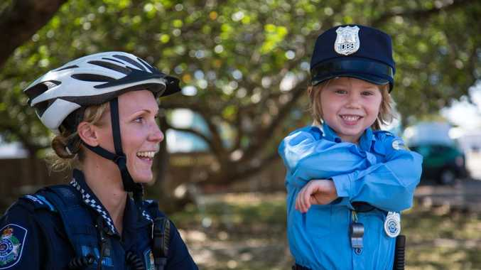 Kawana five year old Oscar Cauchois met his first police officer, senior constable Ellie Blundell from the Maroochydore station, at Cotton Tree this week.