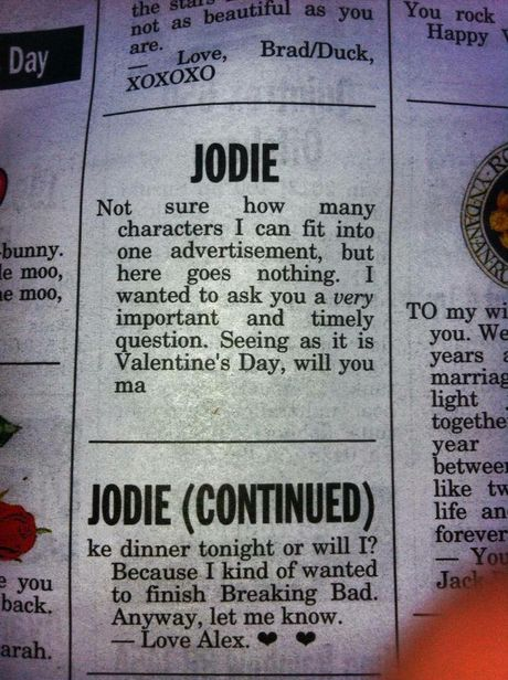 Is this typical of a bloke's idea of romance?