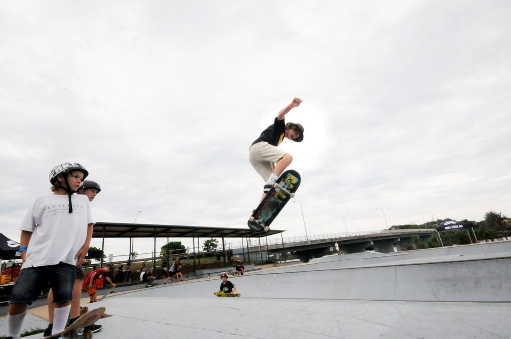 Damon Cahill of Lennox Head, gets air time at the workshop for skateboarding at Missingham park on Sunday. Photo Doug Eaton / The Northern Star