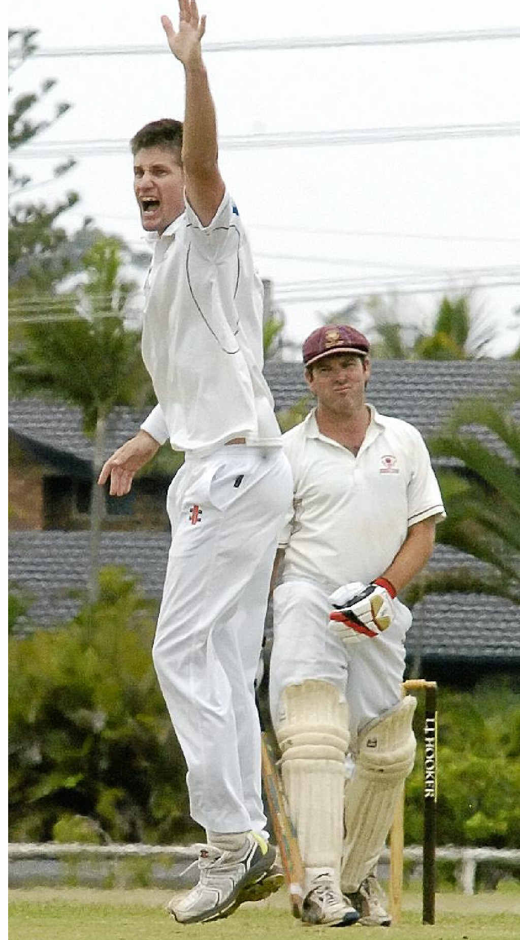 HOWZAT! Alstonville's Jason Caught appeals for a wicket against Mark Warburton.