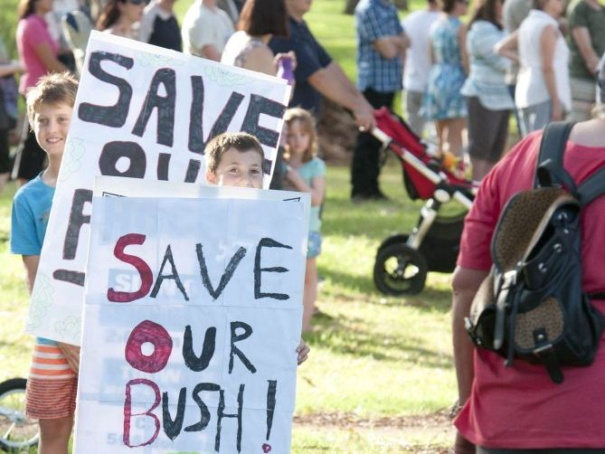 A protest at Garnet Lehmann Park earlier this year before Toowoomba Regional Council approved detention basins.