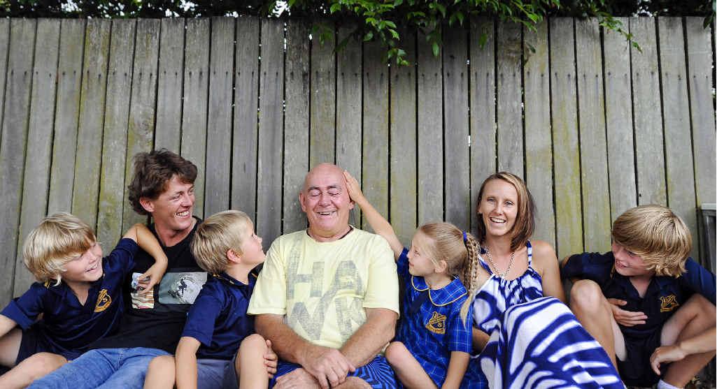 GREAT MINDS THINK ALIKE: The Jerrett family – from left, Taj, Adam, Eli, Danny, Mia, Megan and Kyran – are participating in the World's Greatest Shave, to help leukemia sufferers. Photo JoJo Newby