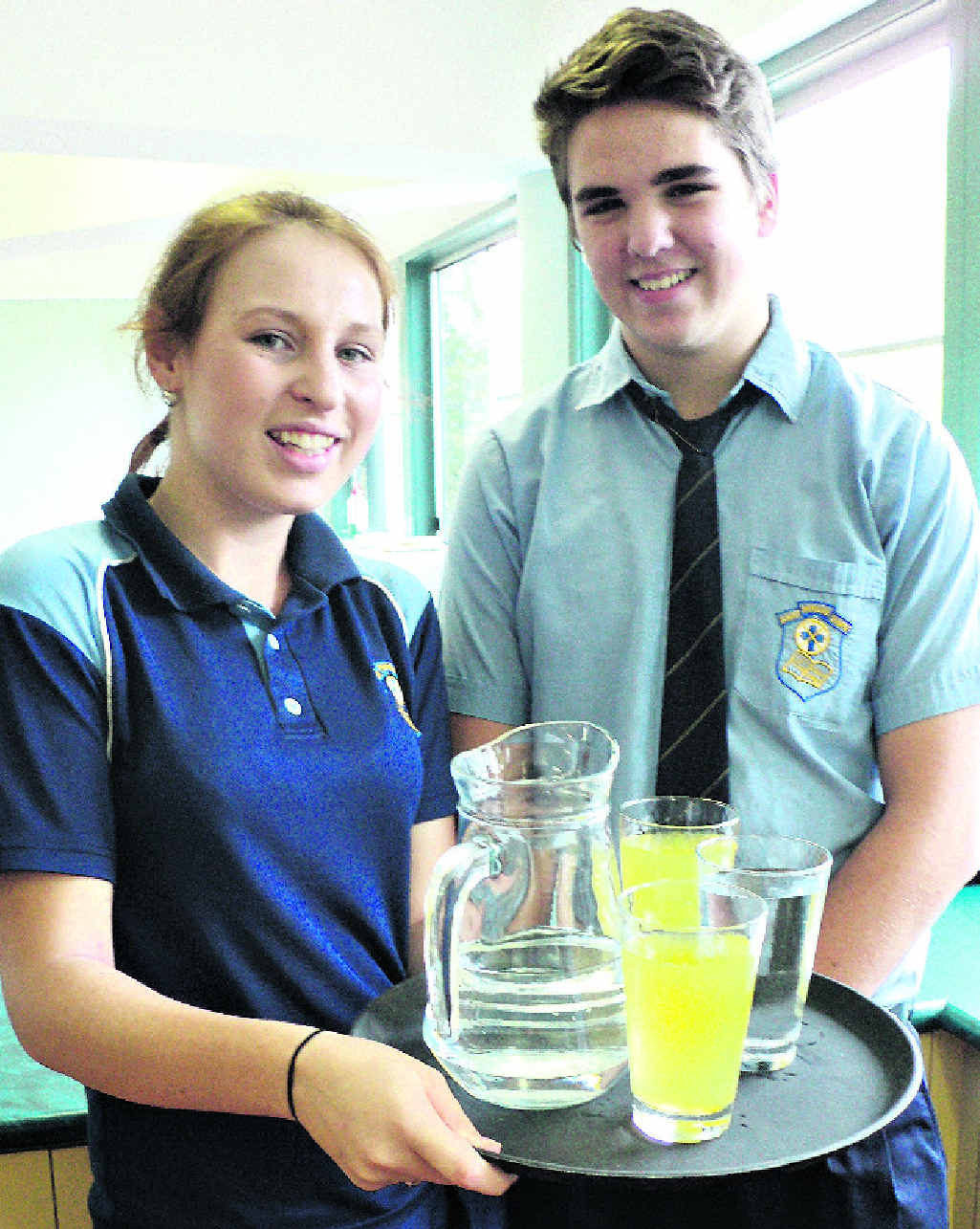 St Patrick's College students Nicole Kratochvil and Andrew Davis are ready to serve.