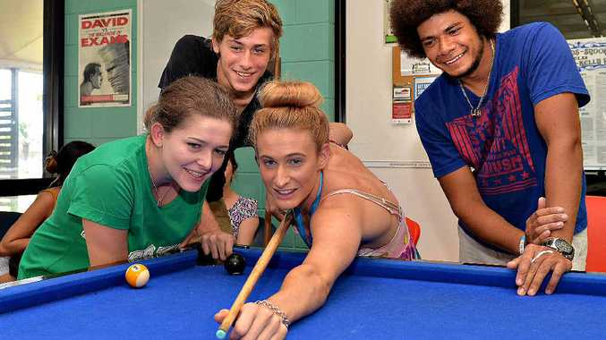 ON THE BALL: Testing their skills during a break in O week at the CQU are from left, Casey Wheatley, Dylan Burnett, Mikaella Mallet and Jordan Minniecon.
