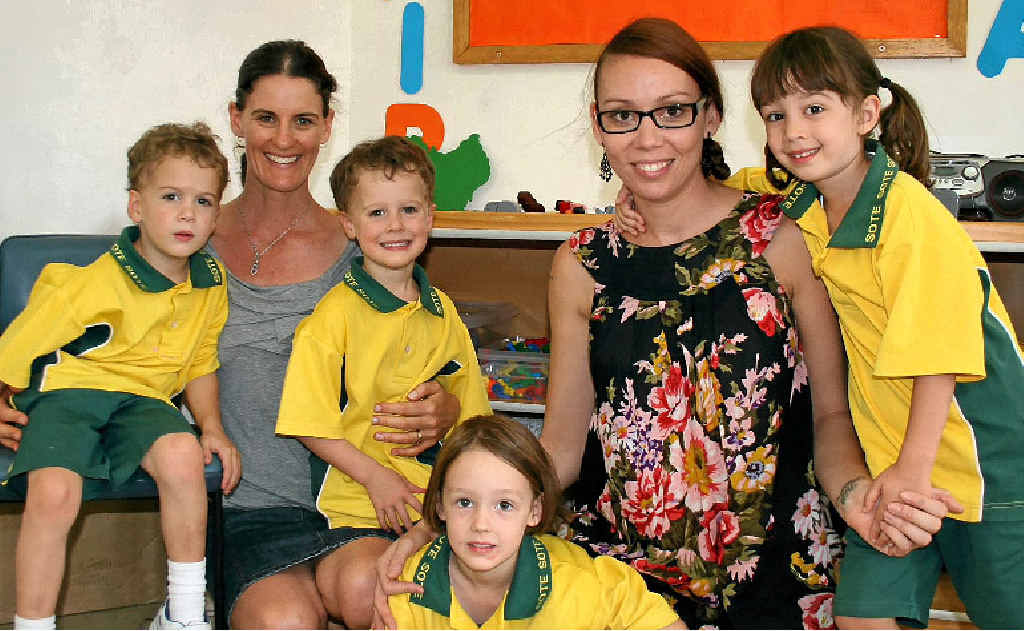 TWINNING: Beau and Noah with mum Jenny Thornton, and the Maquire girls Olive and Edi with their mum Nell Hetherington.