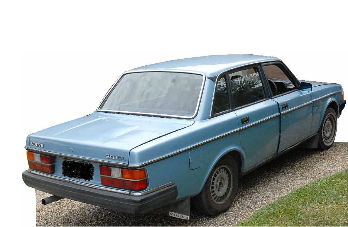 A light blue Volvo alleged to have been used in a hit and run that injured a 4-year-old girl on February 15 as well as two earlier hit-and-run incidents involving other cars.