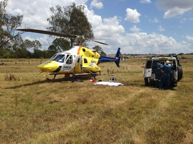 FLOWN OUT: A woman was flown to hospital after falling from a horse on a property near Boonah.