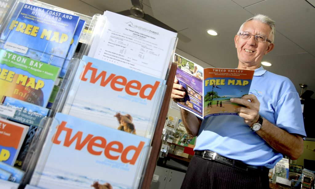 Volunteer Brian Martin at Tweed Heads Visitor Centre. Kingscliff could have its own centre by next month.
