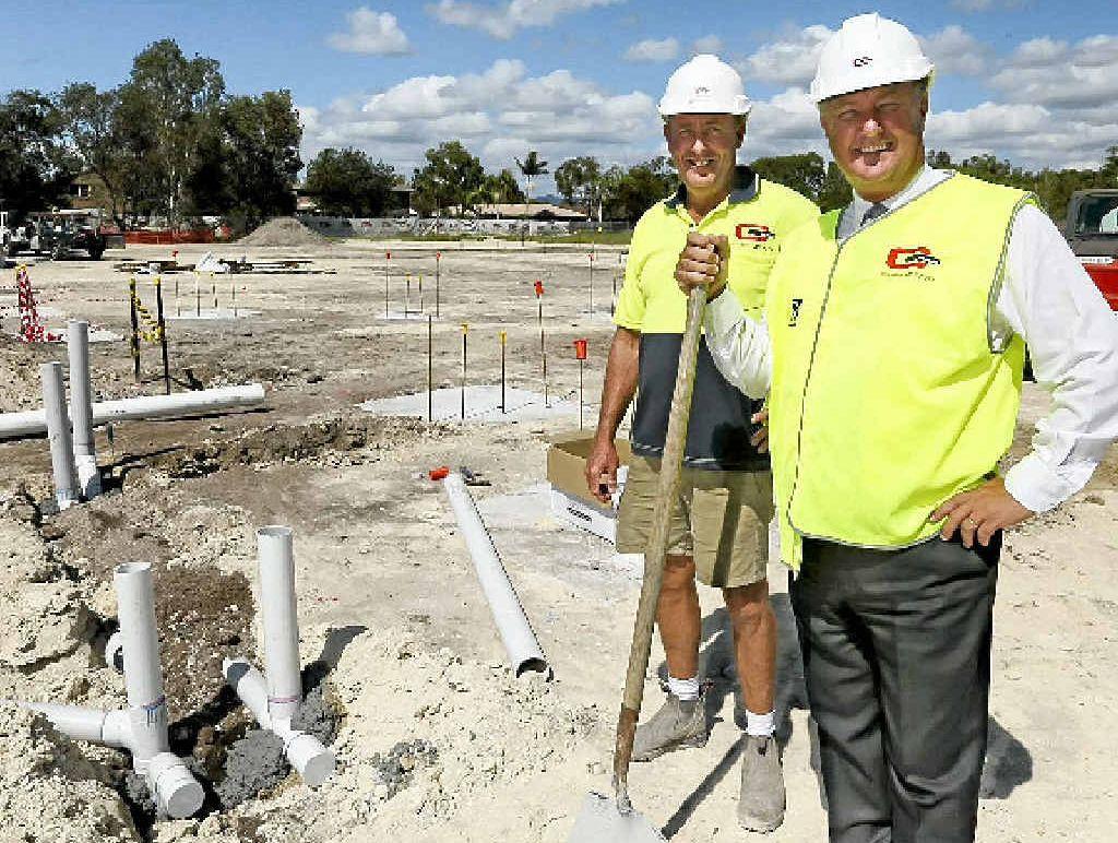 BUILDING BLOCKS: Site foreman Grant Hutson and principal Brian Laybutt check on progress on the new Catholic primary school at Pottsville.