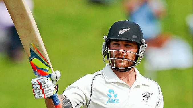 CAPTAIN'S KNOCK: New Zealand captain Brendon McCullum celebrates scoring 250 runs during day four of the second Test match against India. McCullum finished the day unbeaten on 281.
